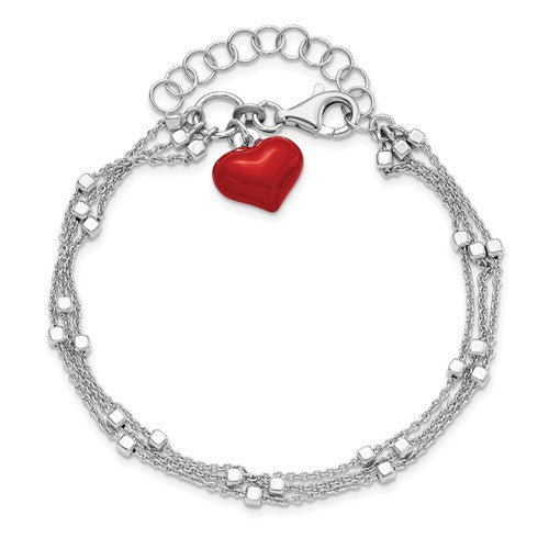 Leslie's Sterling Silver Rhod-plated Enameled Red Heart with 2in ext Bracelet