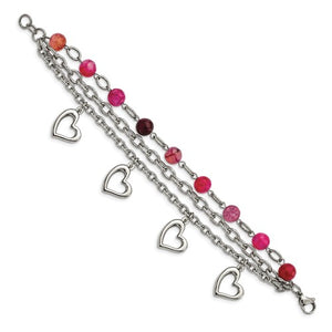 Stainless Steel Polished with Pink Agate and Hearts 7.75in Bracelet