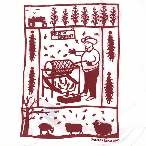 Chile Roaster - Flour Sack Dish Towel - Red