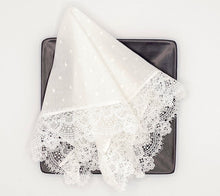 Load image into Gallery viewer, White Macaroon Tea Napkins, set of 2
