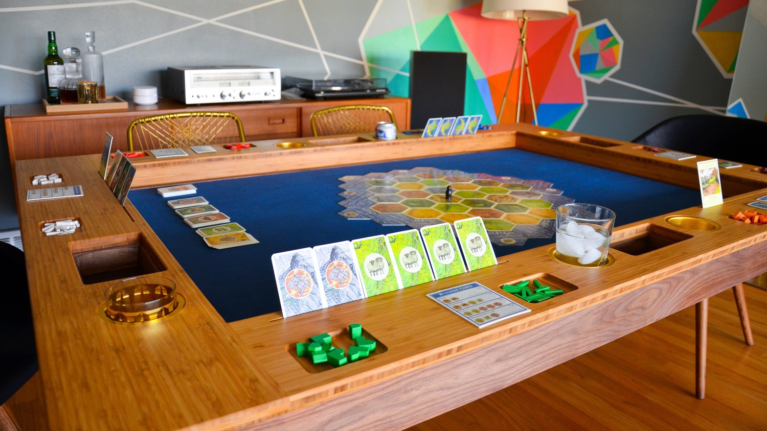 Board Gaming Table - Standard Mid-Century Modern Dresden in action