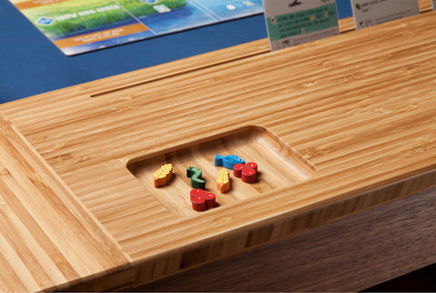 game pieces on board game table