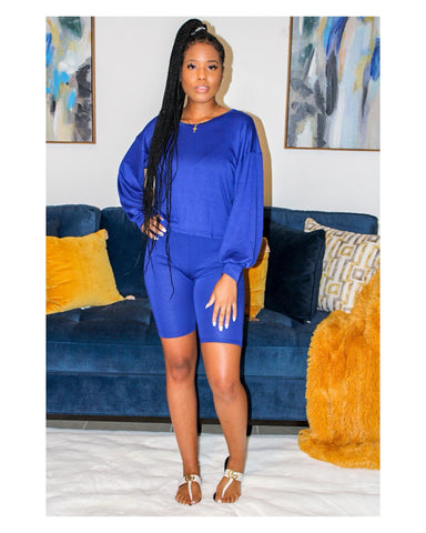 Nipsey Blue 2-Piece Biker Short Set