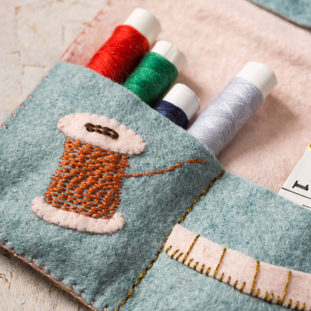 🥰Our felt Sewing Roll is a must have for all crafters of all abilities. With its subtle vintage colours and delicate folk-inspired embroidery, it is as beautiful as it is useful.    🧵This Sewing Roll folds in three and is closed with a pretty saddle stitch ribbon. It has pockets for buttons, thread, a thimble and scissors, needles and tape holders and even a detachable pin cushion.