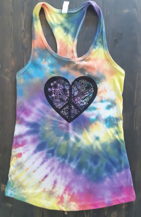 Peace & Love Tie Dyed Racerback Yoga Tank- Small