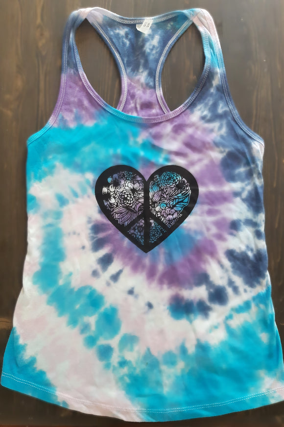 Peace & Love Tie Dyed Racerback Yoga Tank- Large