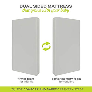 Milliard 140 x 70 Cot Mattress, Extra Thick 12.5 cm Memory Foam, Dual Comfort System – Firm Side for Baby and Soft Side for Toddler, 100% Cotton Cover