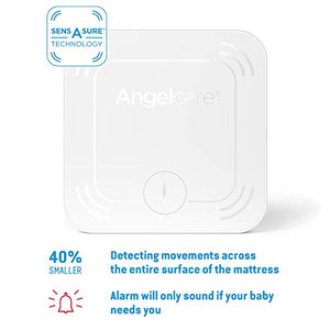 Angelcare Ac327 3-in-1 Sensasure Baby Movement Monitor with Video, White, AC7327