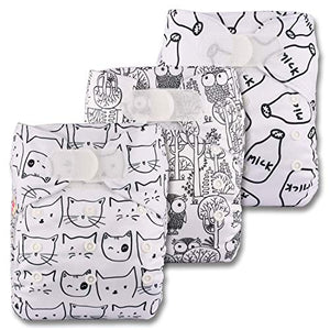 Littles & Bloomz, Reusable Pocket Cloth Nappy, Fastener: Hook-Loop, Set of 3, Patterns 313, Without Insert