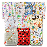 Littles and Bloomz, Reusable Pocket Cloth Nappy, Fastener: Popper, Set of 10, Patterns 1005, with 10 Bamboo Inserts