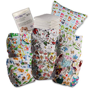 Littles and Bloomz Reusable Nappy, Standard Popper, 6 Nappies + 6 Inserts, 1 Disposable Bamboo Liner, 1 Wet Nappy Bag