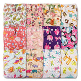 12 x Littles & Bloomz Reusable Nappies (Pocket Cloth ), Popper Fasterner, with 12 Bamboo Inserts