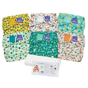 6 x Bambino Miosolo Reusable Nappies (Rainforest - One Size Fits All)