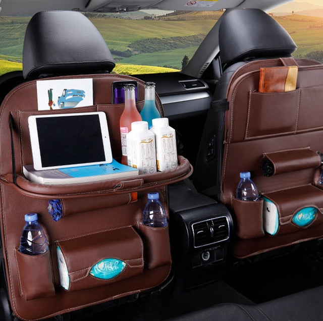 Universal PU Leather Car Back Seat Multifunction storage with Tray