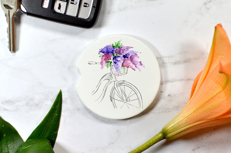 Car Coaster: Bicycle with Lilacs