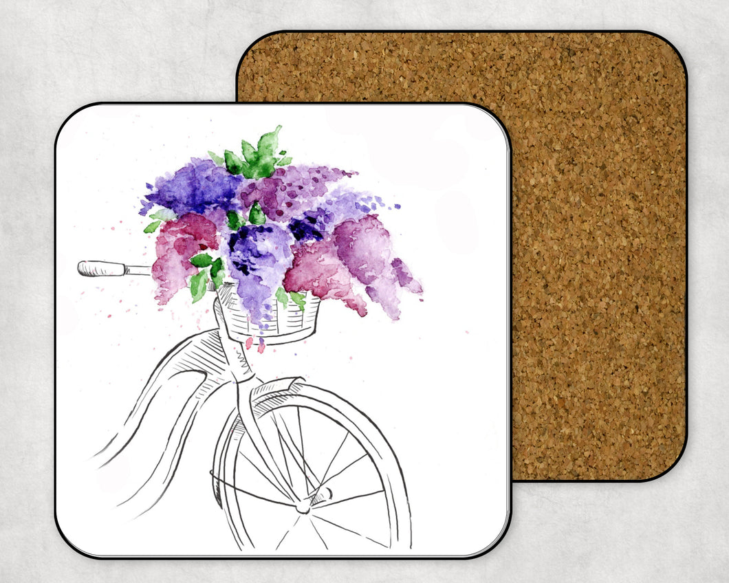 Hardboard Coaster: Bicycle with Lilacs