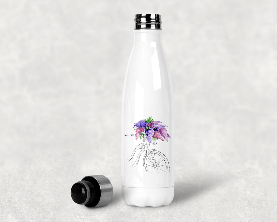 Water Bottle: Bicycle with Lilacs