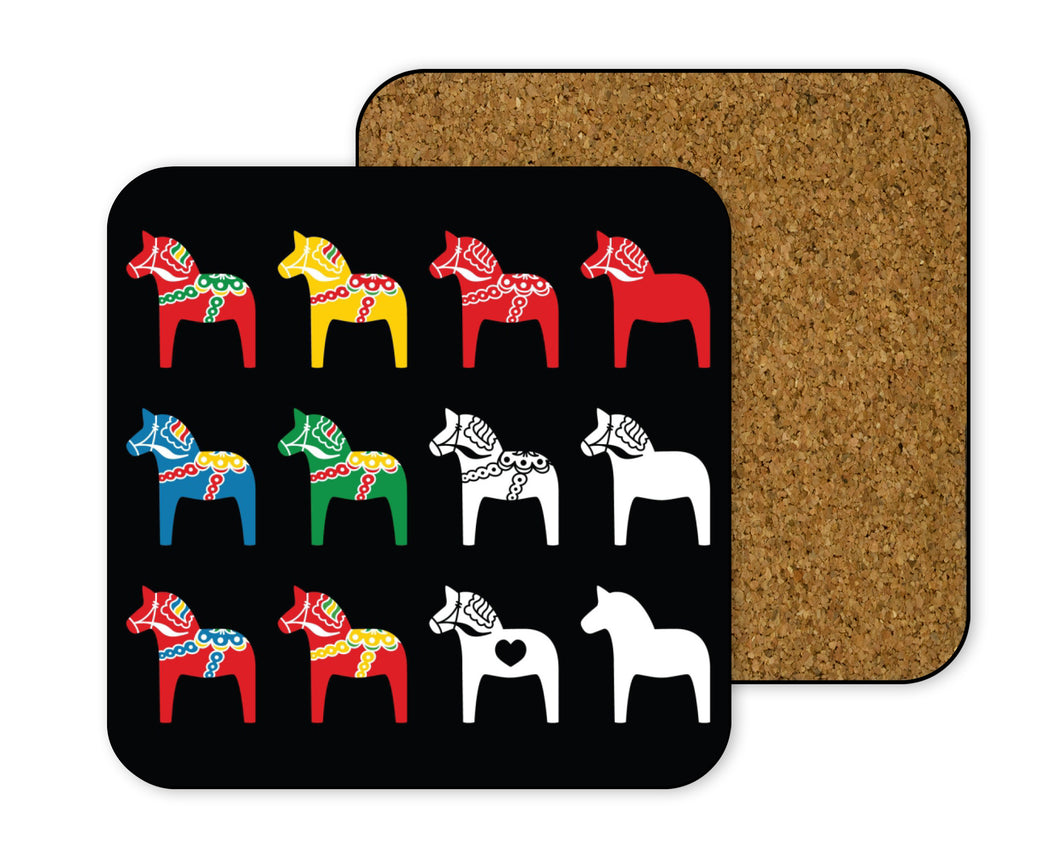 Hardboard Coaster: Scandia Black Swedish Dala Horses
