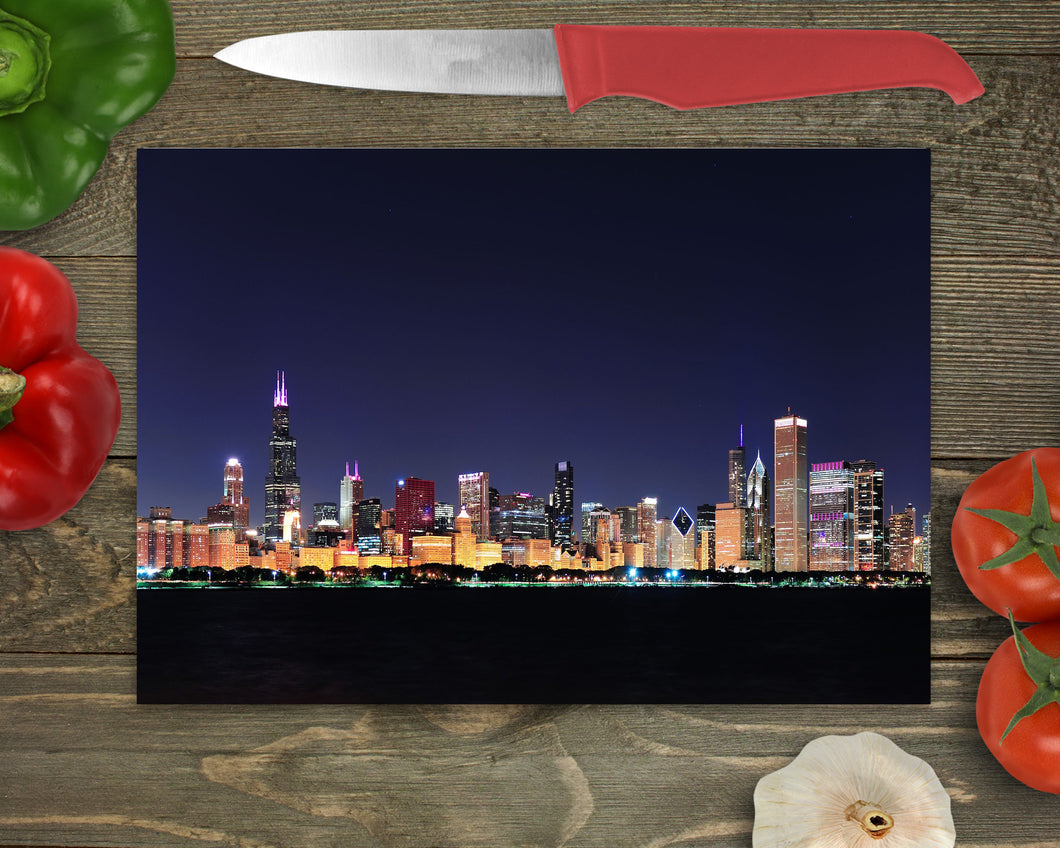 Cutting Board: Chicago Night Scene