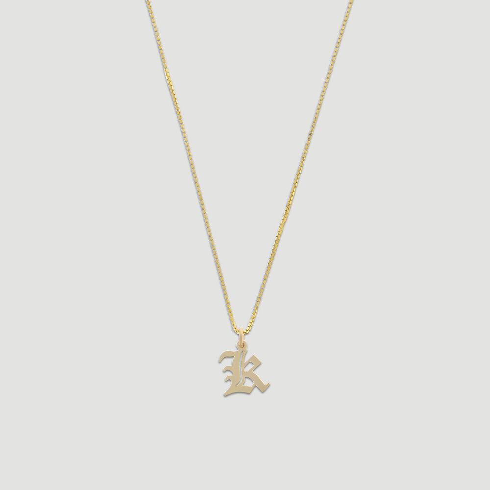 14k old english initial necklace