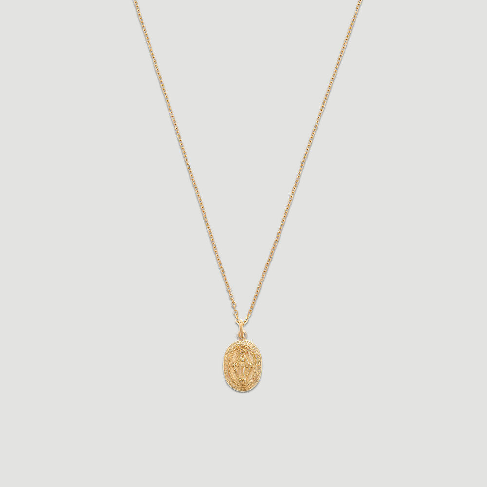 14k blessed mary necklace