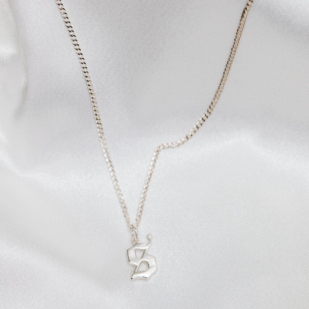 silver old english initial necklace