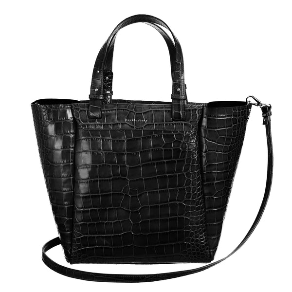 Black Croc Tote Bag
