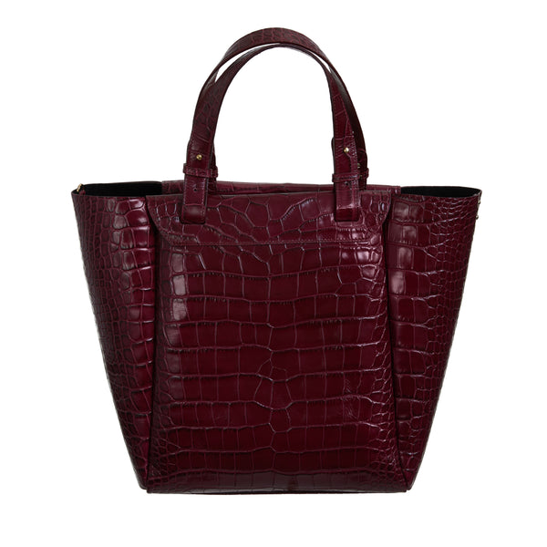 Burgundy Croc Tote Bag