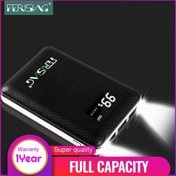 100% Capacity FERISING Power Bank 3 USB External 18650 Lithium Battery 10000mAh+ 2A Charger Portable Powerbank with LED Display