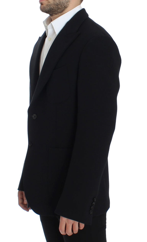 Black wool stretch two button blazer