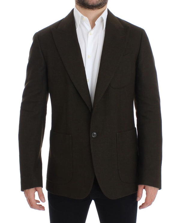 Green wool regular fit blazer