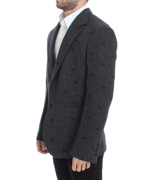 Gray wool two button blazer