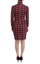 Multicolor Longsleeved Turtleneck Viscose Dress