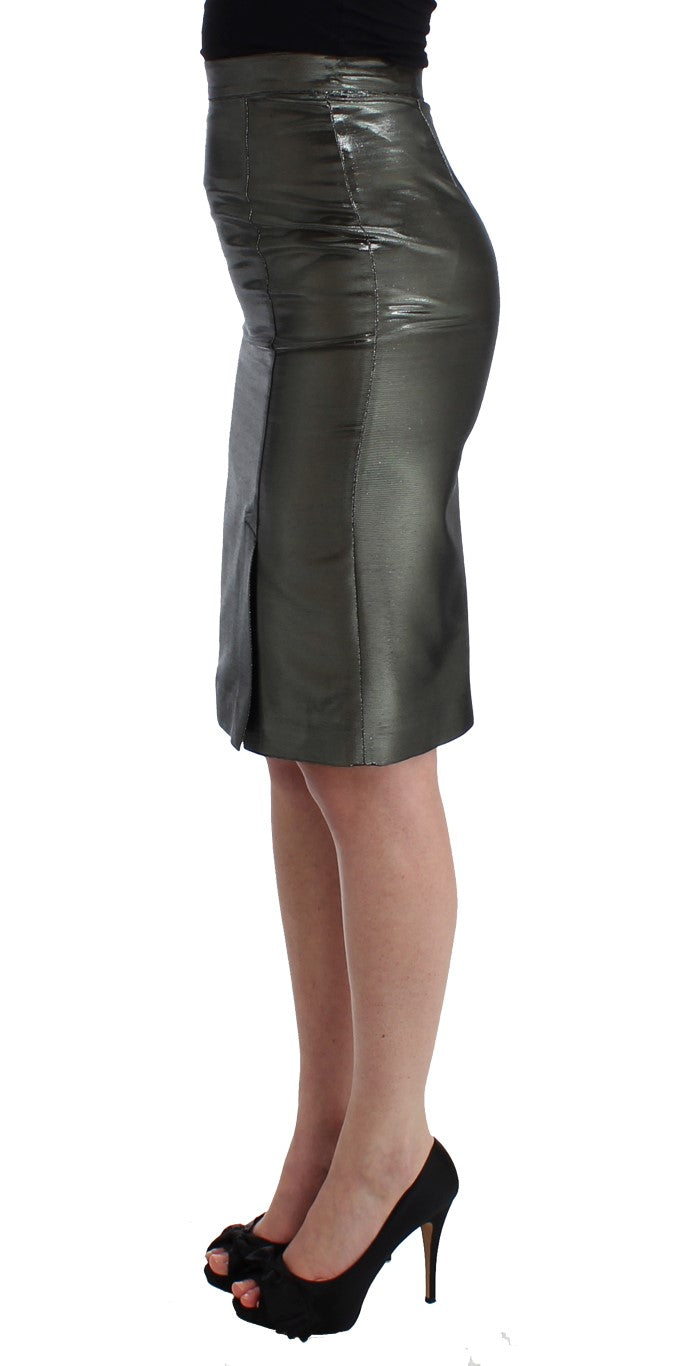 Silver Straight Pencil Skirt