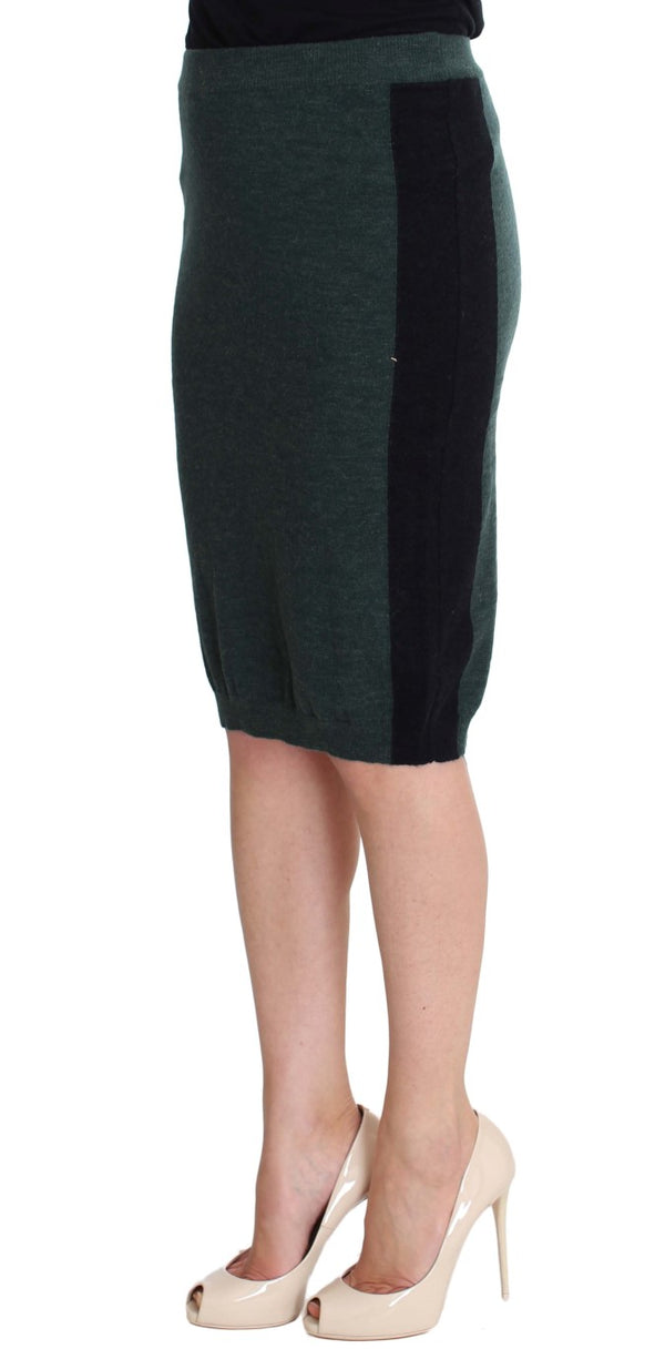 Green Wool Blend Pencil Skirt