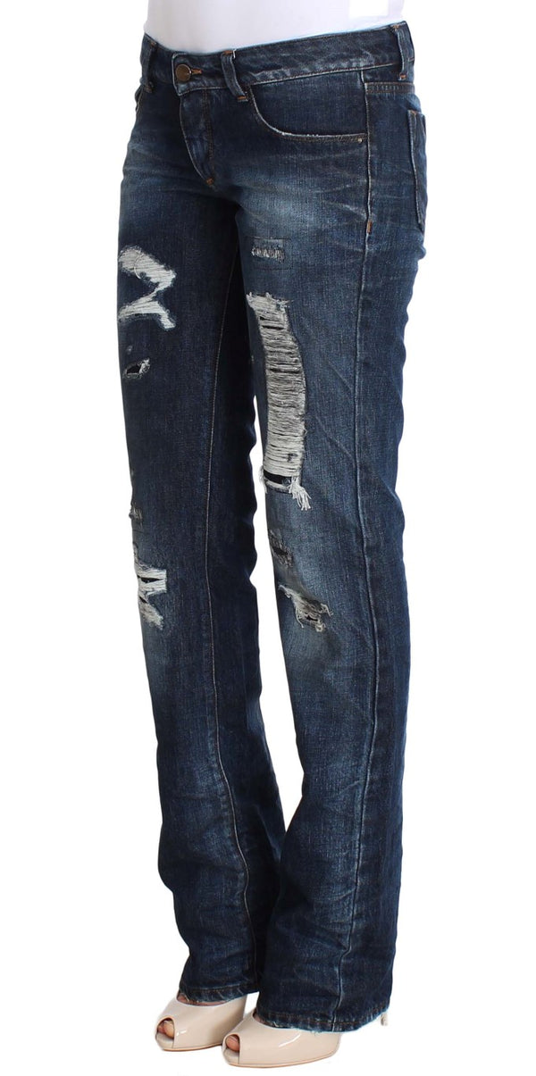 Blue Cotton Torn Regular Fit Jeans