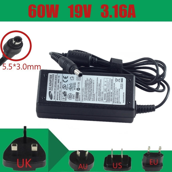 19V 3.16A AC power Adapter AD-6019 For Samsung Laptop Charger ATIV Book NP270E5E NP300E5A NP300E5C NP355V5C NP3445VX NP350E5C
