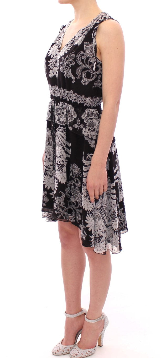 Black Silk Floral Pattern Shift Coctail Dress