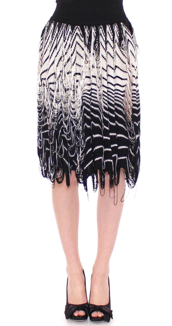 White Black Knitted Assymetrical Skirt