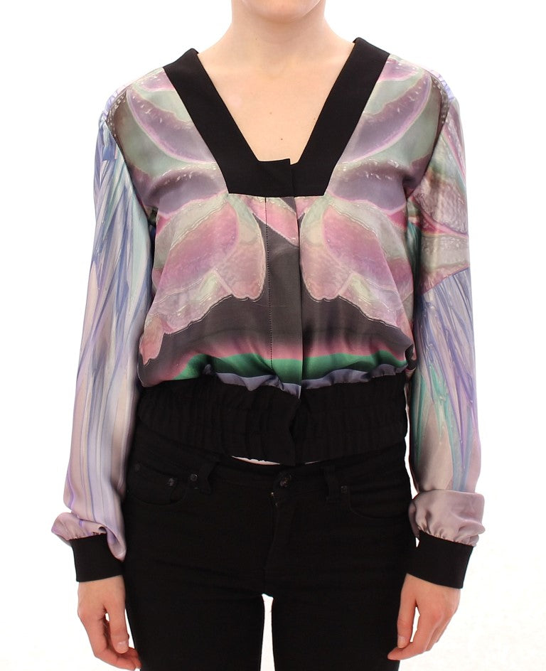 Multicolor silk blouse jacket