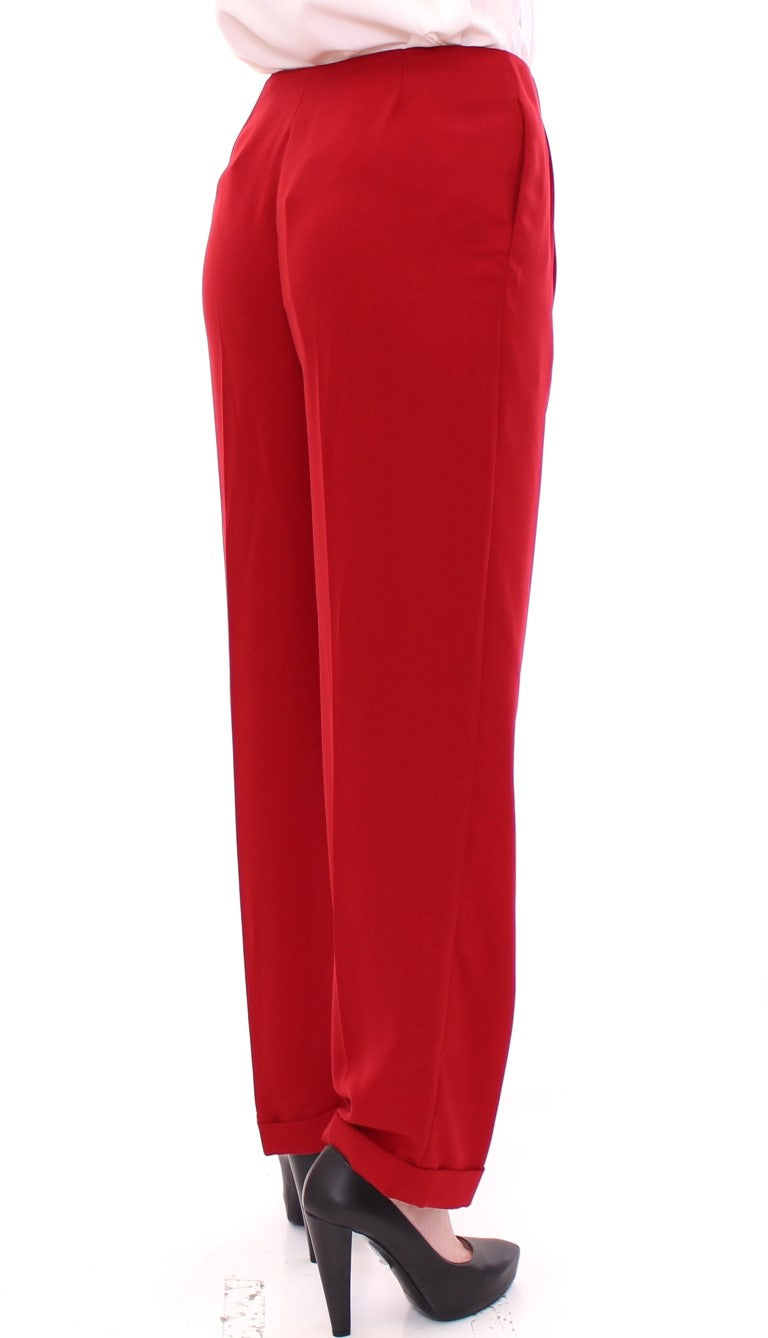 Red wool straight dress pants