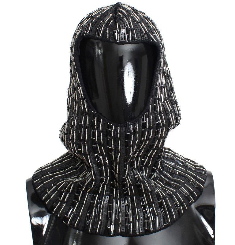 Black Wool Crystal Runway Crochet Hood