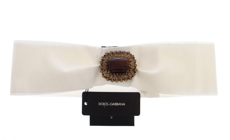 White Crystal Brass Wide Waist Runway Belt