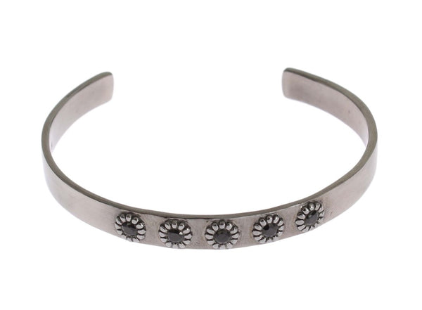 Black Crystal 925 Silver Bangle Bracelet