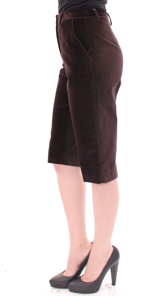Brown Cotton Solid Pattern Shorts Pants