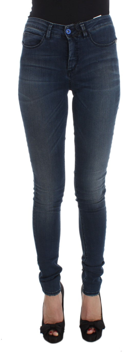Blue Cotton Blend Slim Fit Jeans