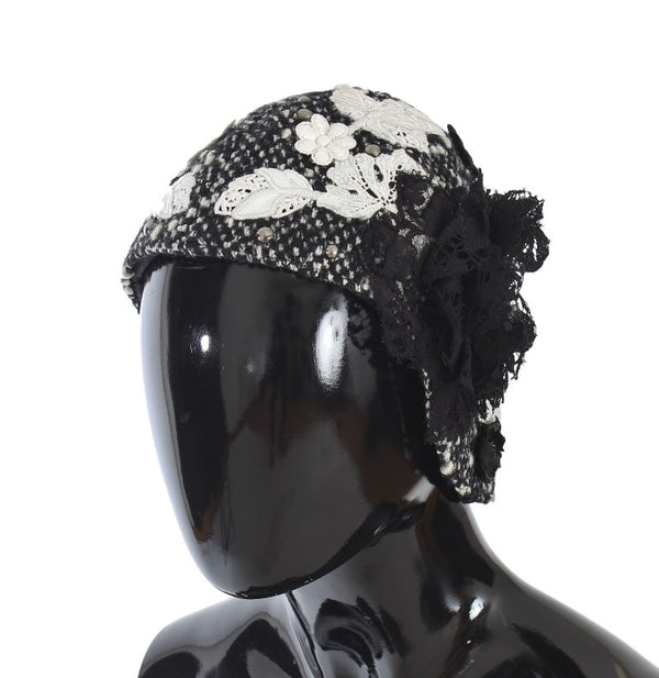 Gray Wool Floral Lace Studded Cloche Hat
