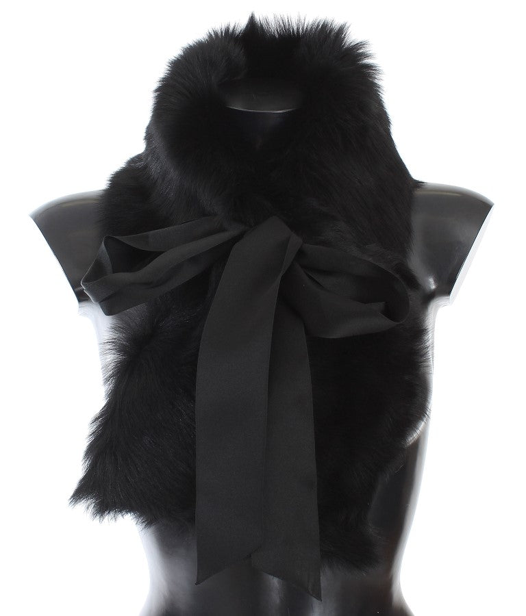 Black Lambskin Fur Silk Scarf