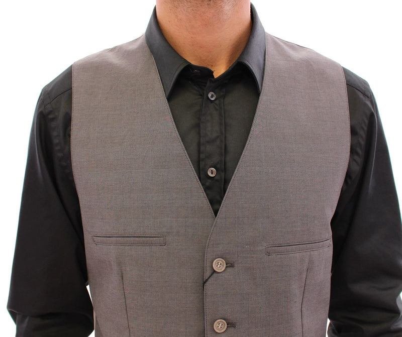 Gray Cotton Slim Fit Button Front Dress Vest