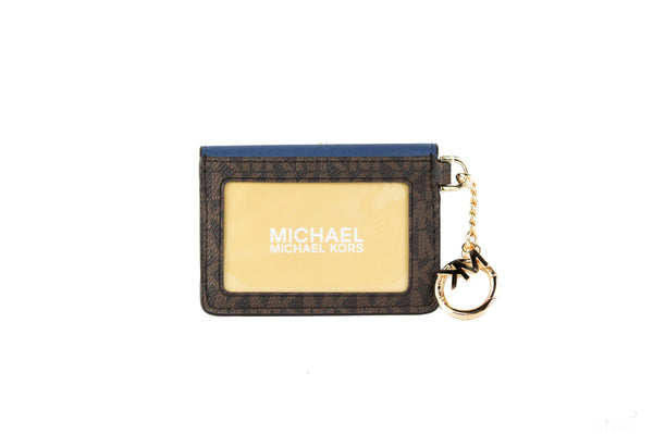 Kala Small Signature Leather Flap Key Ring Card Case (Dark Chambray)
